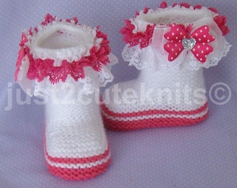Hand Knitted Designer Baby Girl Booties Lots Of Lace Newborn Special Occasion Baby Shower Original Reborn Doll #32