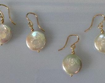 Sophisticated Natural Freshwater Coin Pearl Earrings Bridal Feminine