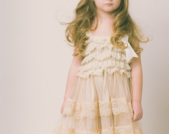 Eloise lace rustic flower girl dress champagne lace dresses flower girl dress country chic flower girl dress rustic wedding dress lace dress