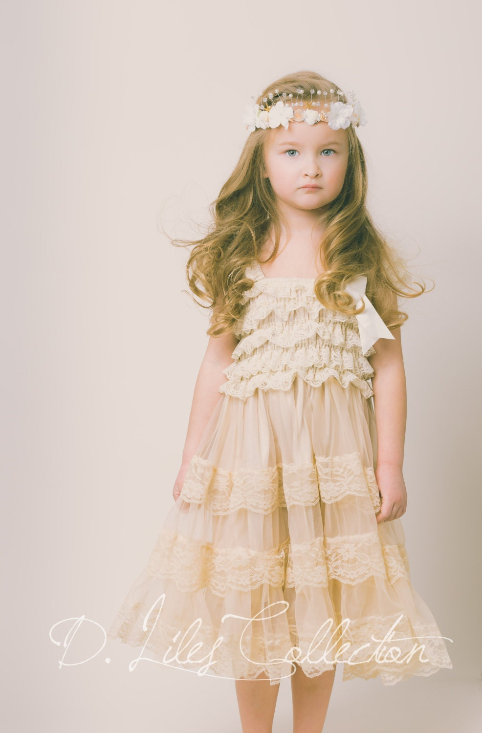 Champagne Lace Flower Girl Dress Ivory Lace Baby Doll