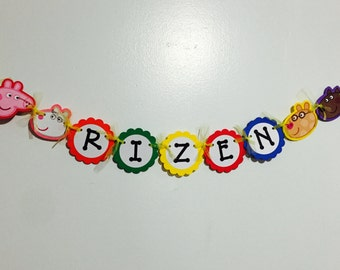 Peppa Pig Inspired Happy Birthday Multi Color Banner