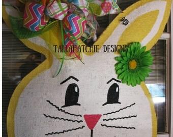 Burlap Easter Bunny Door Hanger  Easter Door Hanger  Spring Burlap Door Hanger