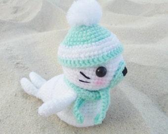 Big Winter Seal Amigurumi Cute Crochet Doll - Made to Order