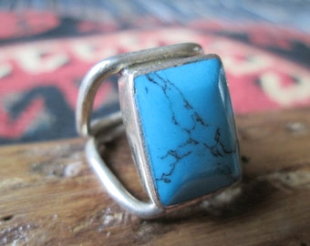 Native American Turquoise and Sterling Ring Size 7.75