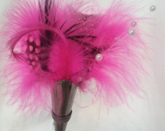 FEATHER BOUTONNIERE in Lapel Pin Vase