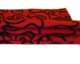 Glitter felt sheets fabric squares red and black swirls Fanci Felt