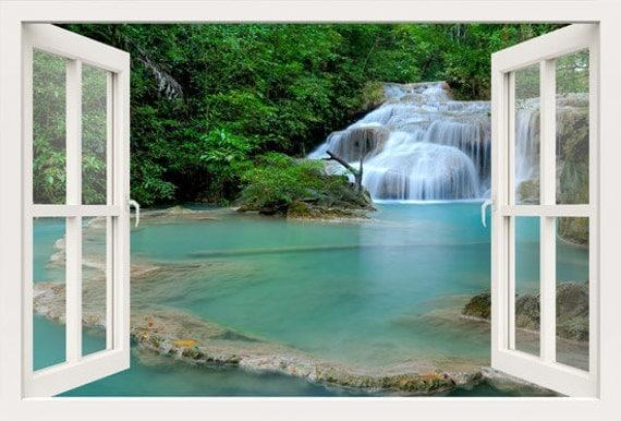 D Window Wall Decal Window To Lake Waterfall Wall Stickers - 3d window wall decals