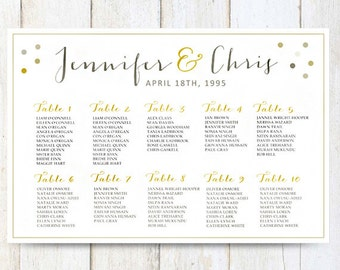 White Wedding Seating Chart Poster Digital Gold Sign Printable