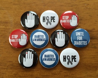 Diabetes Awareness Pinback Buttons Set of 10, Diabetes, Diabetic, Diabetes Awareness