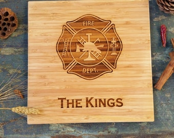 Custom engraved Fire Department Cutting Board, Bamboo, Earth Friendly and Sustainable, Free Personalization