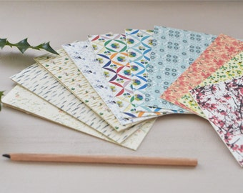 Set of 13 cards printed with various floral patterns
