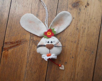Easter hanging decoratinon Handmade bunny rabbit girl Easter ornament gift tag bauble