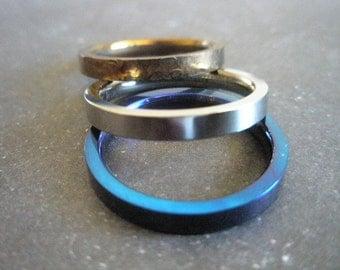Set of 3 titanium rings