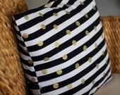 Glittery Gold Dot & Black Stripe Pillow Cover - 16X16, 18X18, 20X20