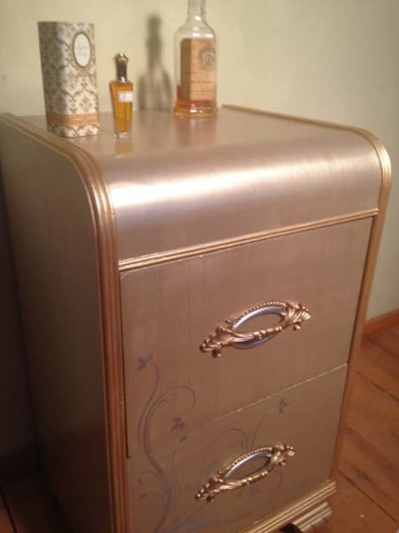Vintage art deco waterfall nightstand with by for Waterfall design etsy