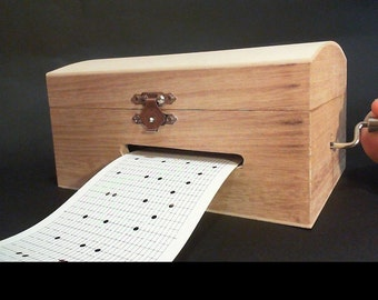 Wooden music box. 30 notes music box to diy songs. Ready to use or decorate. Puncher, blank paper strips + 1 FREE sample  SONG from the list