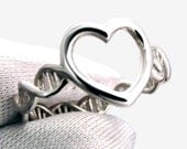 DNA Molecule Heart Ring in Sterling Silver by Universe Becoming