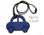 Car Silicone Teething Pendant - Teething Necklace Bite Beads Chewing Beads - Navy