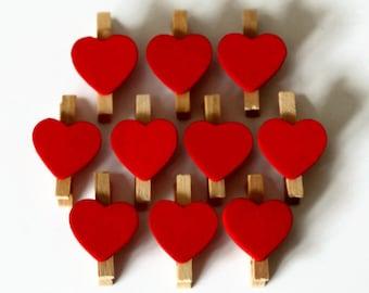 10 Mini Heart Pegs - 30mm x 18mm - Memo Favours - Valentine Heart Pegs - Peg Favors - Peg Clips - Wedding Place Cards OC36