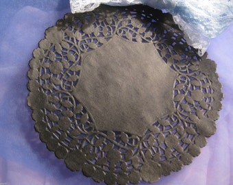 "8"" Inch Round Black PAPER LACE Doilies Craft Cards Goth 10 Pcs FLORAL  Border Made in Canada"