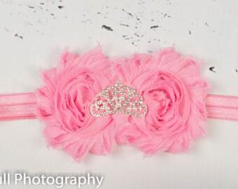 Pink Baby Headband, Princess Tiara Headband, Baby Tiara, Princess Headband, Pink Crown headband, Christening Headband, Crown Headband.