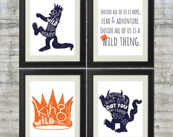 Where The Wild Things Are Print - Set of 4 8x10 Prints in Navy Blue and Orange