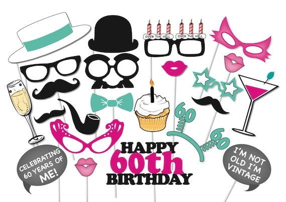 60th birthday photobooth party props set 26 piece printable rh etsy com 60th birthday clip art free images 60th birthday clip art women