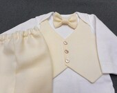 Baptism Christening Baby Suit Outfit Vest Bow Tie Pants & Bodysuit French Vanilla Easter Weddings  Photos Special OccassionNewborn - 24 mo.
