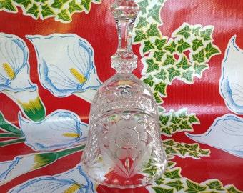 Vintage crystal cut glass floral design bell