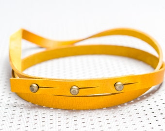 Yellow simplistic handmade leather belt – ''More or Less''