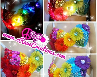 Rainbow Bright Blossoms with Rhinestones and Optional LEDs that Light Up! Custom Rave Bra Bling EDC Ultra Dance