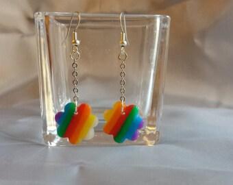 Rainbow polymer clay pendant earrings