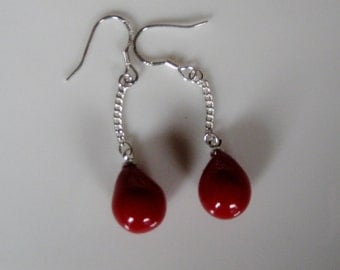 Red Coral Earrings, Coral Dangle Earrings, Coral, Coral Dangle Earrings, Ruby Red Earrings, Red Coral Drop Earrings