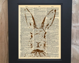 Cool Rabbit art print on Upcycled vintage Dictionary page #0066