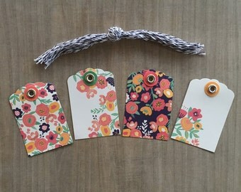 Sale 20 Flower Gift Tags - Floral gift wrap, gift wrapping, labels,  craft supplies, purple, orange, green, pink, yellow, Spring, Easter