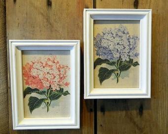 Lovely Pair of Shabby Chic Hydrangea Prints on Aged Linen Framed in a Vintage White Frame