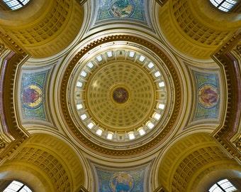 The Capital Rotunda, Madison, WI -  Photo Print - Photography - Beautiful Capital Building's Ceiling - Rotunda - Dome