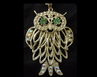 Huge 70s Vintage RHINESTONE OWL Pendant Necklace Boho 1970s Disco Glam Statement Jewelry Aurora Borealis Bird Bling Studio 54 Fashion Gift