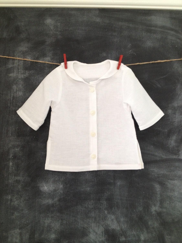 Childs Linen Sailor Shirt Kids Linen Blessing Day Baptism