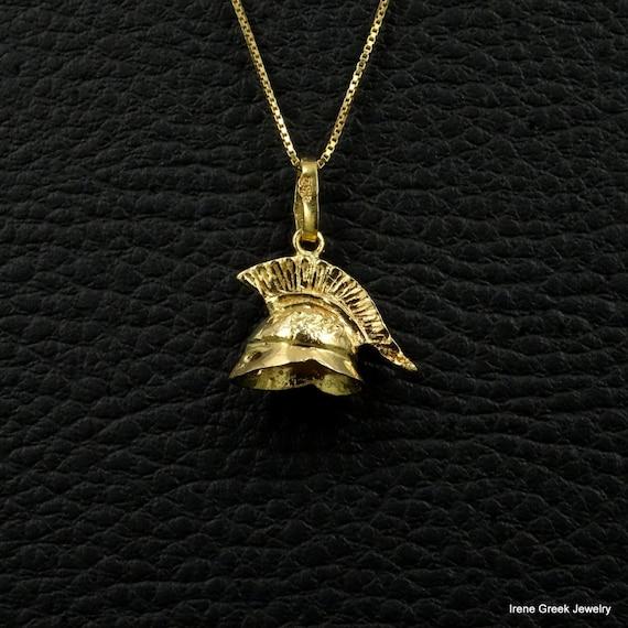 spartan helmet charm pendant 18k solid yellow gold