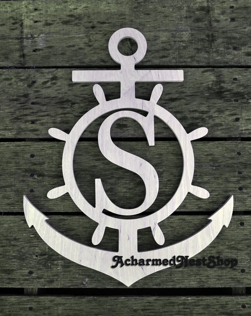 Unfinished 20 Wooden Anchor With Block Initial