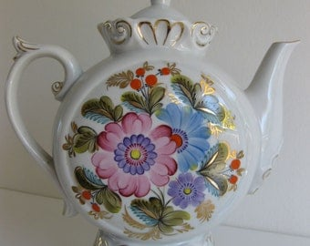 Large Very Rare VINTAGE UKRAINIAN TEA Pot from 1970s - Hand Painted.