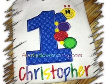 Baby Einstein Caterpillar birthday shirt  number Applique Embroidery Custom Name