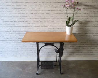 Upcycled sewing machine console table