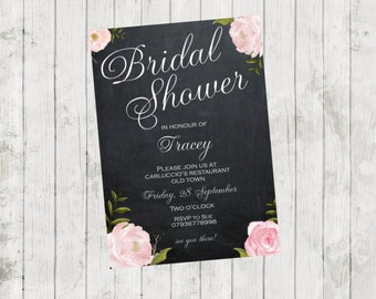 Printable bridal shower invitation, digital bridal shower invitation, chalkboard bridal shower, roses bridal shower invitation, you print