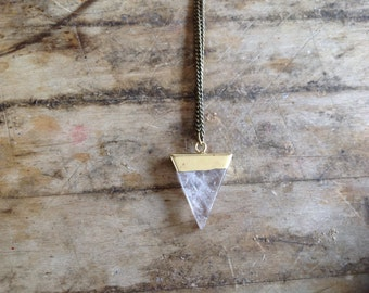 14K Gold or Silver Plate Quartz, Amethyst, or Moonstone Triangle Crystal Pendant