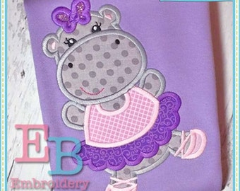 Hippo Ballerina Applique - This design is to be used on an embroidery machine. Instant Download