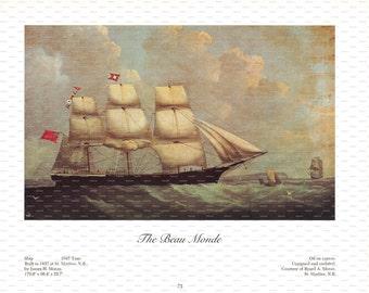 "Clipper Ship Book Plate. ""The Beau Monde"". 1967."