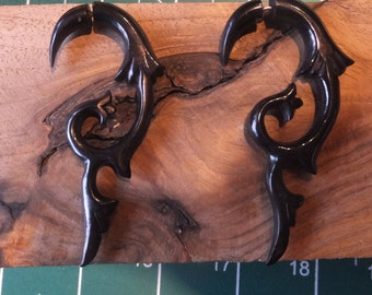 Gorgeous Hand Carved Coconut Wood Faux Gauge Earrings