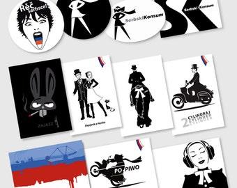 Postcards - stickers - post card sticker set. SERBSKIKONSUM